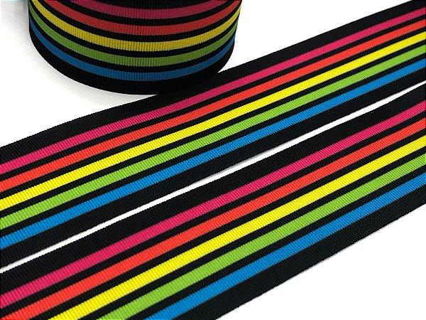 Fita de Gorgurão - Arco-Íris com Preto - Progresso - 38mm