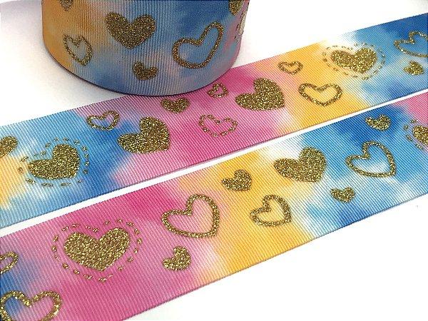 Fita de Gorgurão com Glitter - Tie Dye e Corações - Progresso - 38mm