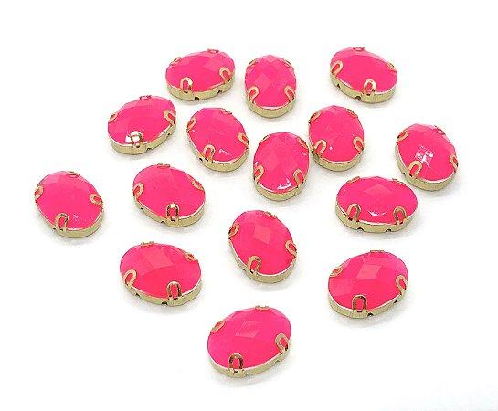 Engrampado de Acrílico Oval Garra Dourada - Rosa Neon - 13x18mm (grande) - 3 unidades