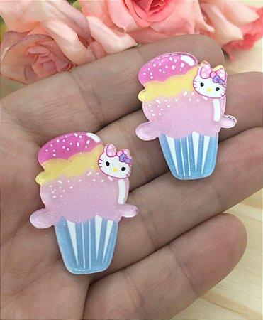 Aplique Acrílico - Cupcake Kitty - 2 Unidades