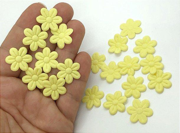Florzinha de Tecido Pequena - Amarelo Bebê - 20 unidades