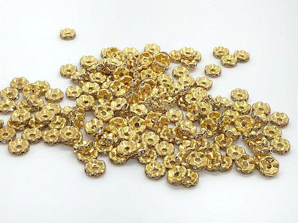 Entremeio Dourado Ondulado com Strass - 10 gramas