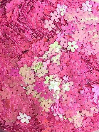 Micro-Apliques - Florzinha Rosa Chiclete - Pacote com 10 gramas.