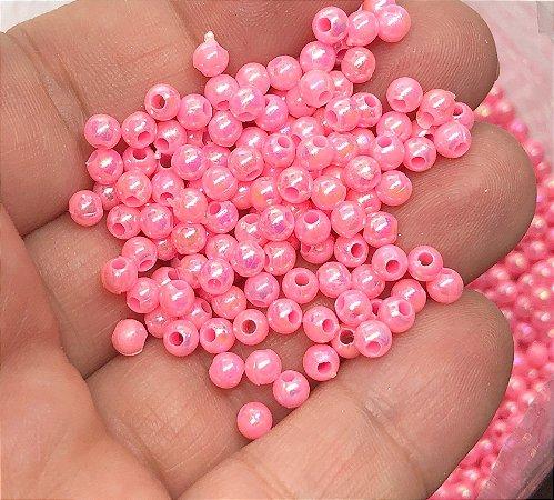 Bolinha Irizada - Rosa Chiclete - 4mm - Para bordar - Garrafinha Aprox. 15 gramas
