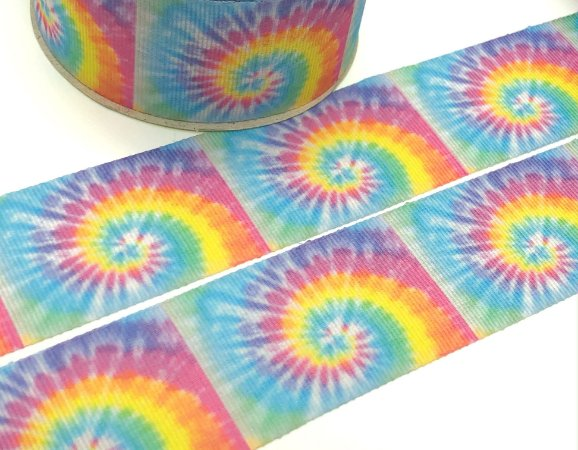 Fita de Gorgurão Estampada - Tie Dye Tons Candy - Artfitas - 38mm