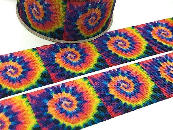 Fita de Gorgurão Estampada - Tie Dye Cores Fortes - Artfitas - 38mm