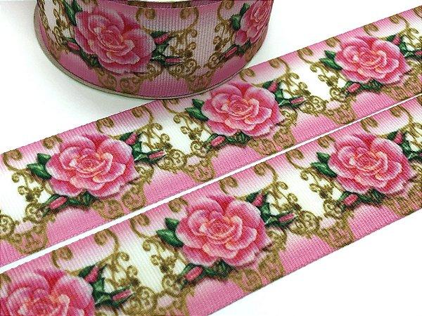 Fita de Gorgurão Estampada - Rosas fundo Rosa - Artfitas - 38mm