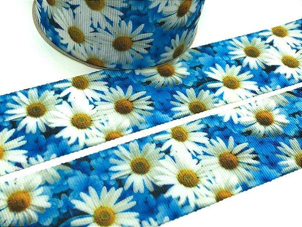 Fita de Gorgurão Estampada - Margaridas fundo Azul - Artfitas - 38mm