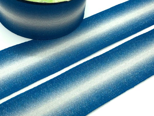 Fita de Gorgurão - Degradê Azul e Branco - LUREX - Artfitas - 38mm