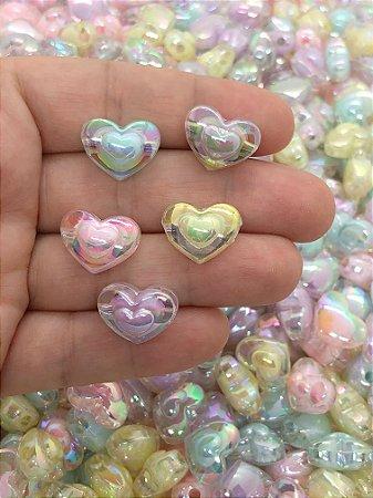 Coração Translúcido Passante - Sortido - Pacote 30 gramas