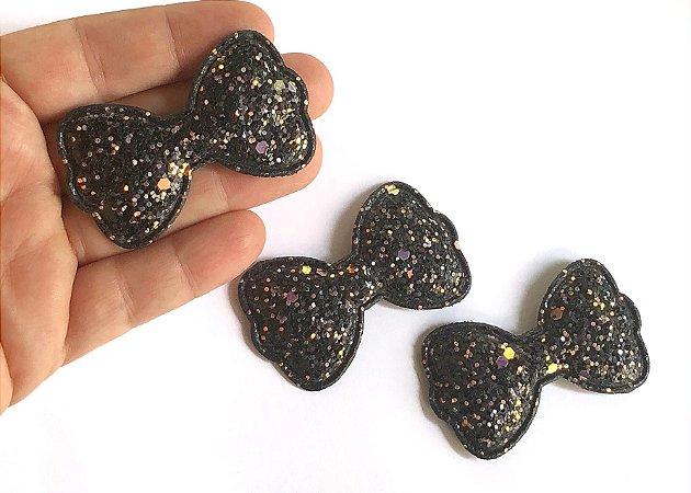Aplique Glitter Flocado - Laço Preto - Unidade