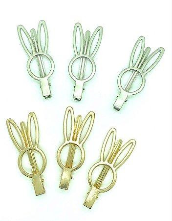 Bico de Pato Decorativo - Coelhinho - Dourado ou Prata - 5 unidades