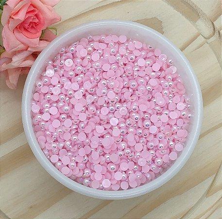 Meia-Pérola Irizada - Rosa Claro - 5mm - 10 gramas