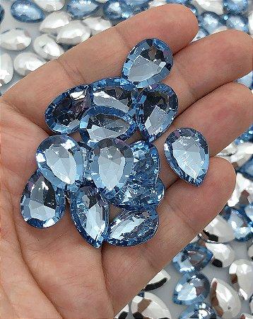 Chaton Cristal Gota - Azul Claro - 10 unidades