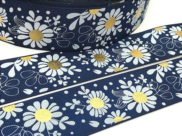 Fita de Gorgurão Importada - Flores Detalhes Dourados - Azul Marinho - 38mm - 5 metros