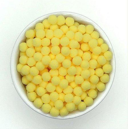 Pompom Amarelo Claro - 8mm - Pacote com 100 unidades