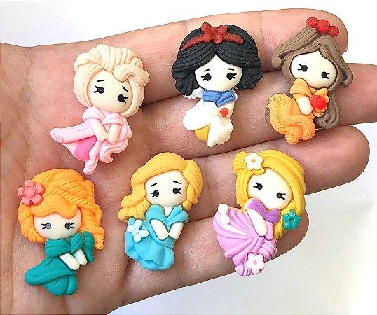 Aplique de Resina - Princesas - Pacote com 6 unidades (1 de cada)