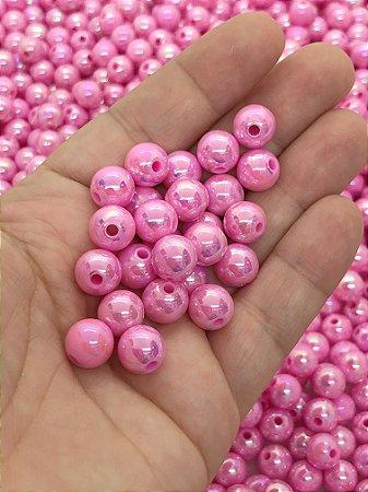 Bolinha Irizada - Rosa Escuro - 10mm - 30 gramas