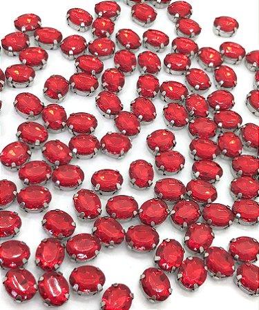 Engrampado - Garra Prata - Oval Pequeno - VERMELHO - 10x8 - Pacote com 5 unidades