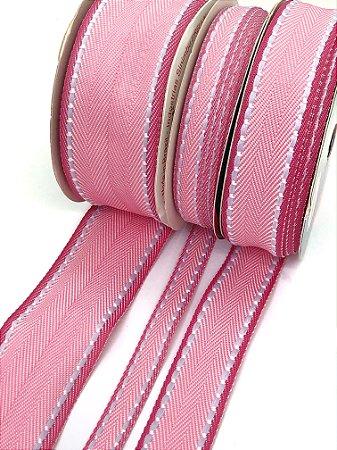 Fita Pespontada Sinimbu Borda Colorida - Rosa Borda Pink - 10mm, 22mm, 38mm - 10 metros