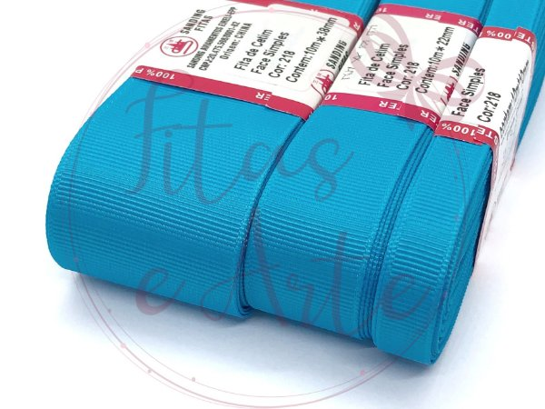 Fita de Gorgurão Sanding - Azul Turquesa (218) - 10mm, 22mm ou 38mm - Rolo 10 metros