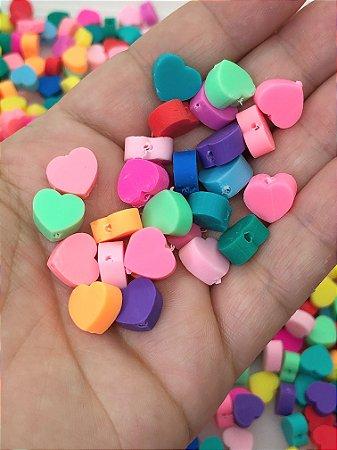 Coração Sortido Fimo - Pacote com 30 unidades