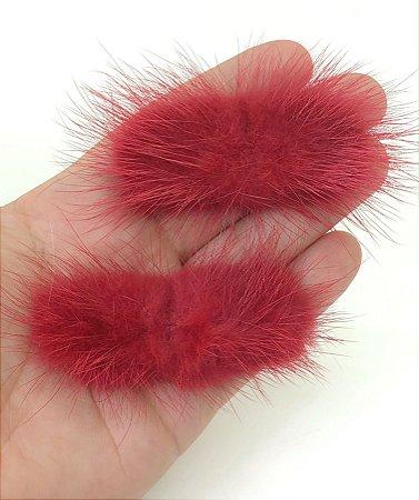 Pompom Felpudo Bigode - Vermelho Coral - Unidade