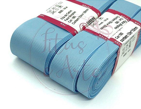 Fita de Gorgurão Sanding - Azul Bebê (180) - 10mm, 22mm ou 38mm - Rolo 10 metros