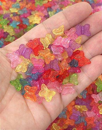 Miçanga Borboletinhas Coloridas - Pacote 20 gramas