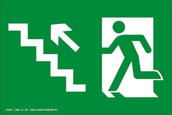 Placa de Sinalização de Emergência Fotoluminescente Rota de Fuga - Saída Escada Seta Diagonal para Cima à Esquerda 25x15 cm