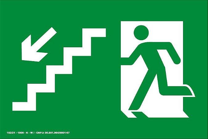 Placa de Sinalização de Emergência Fotoluminescente Rota de Fuga - Saída Escada Seta Diagonal para Baixo à Esquerda 25x15 cm
