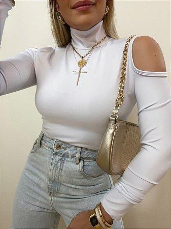 Cropped Ombro Vazado Isa Baldo Branco