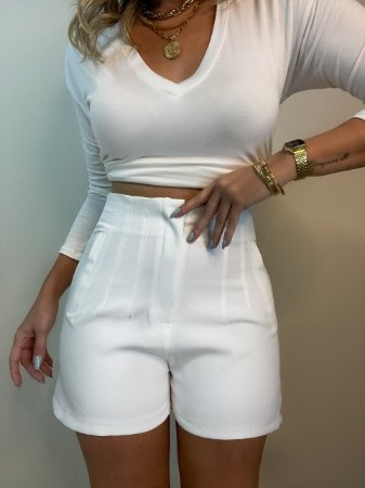Shorts Alfaiataria Isa Baldo Branco
