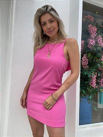 Vestido Curto Decote Isa Baldo Rosa Chiclete