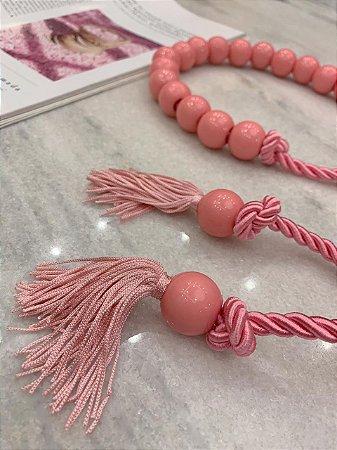 Cinto de Corda Esferas Rosa Chiclete