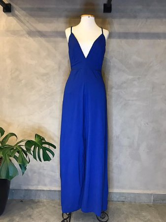 Macacão Pantalona Decote Isa Baldo Azul Royal