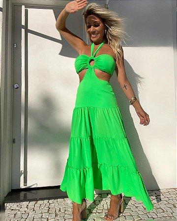Vestido Midi Isa Baldo Verde Neon