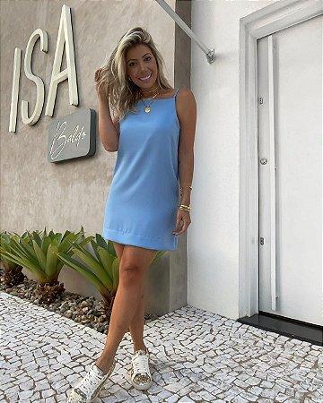 Vestido Decote Isa Baldo Azul Claro