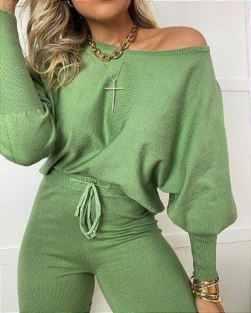 Conjunto Tricot Modal Isa Baldo Verde