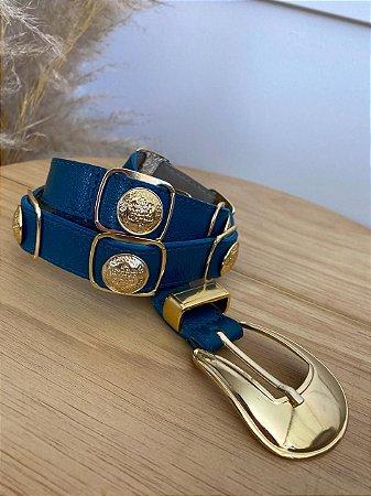 Cinto Couro Detalhes Isa Baldo Azul