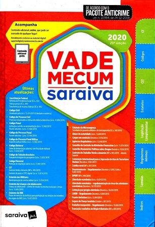 Vade Mecum Saraiva 2020 - Tradicional - 29ª Edição: Atualizado Com o Pacote Anticrime