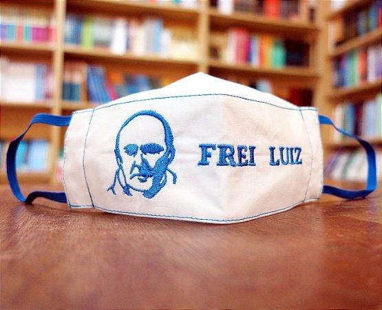 Máscara personalizada Bordada Frei Luiz azul royal escrita - modelo 3D