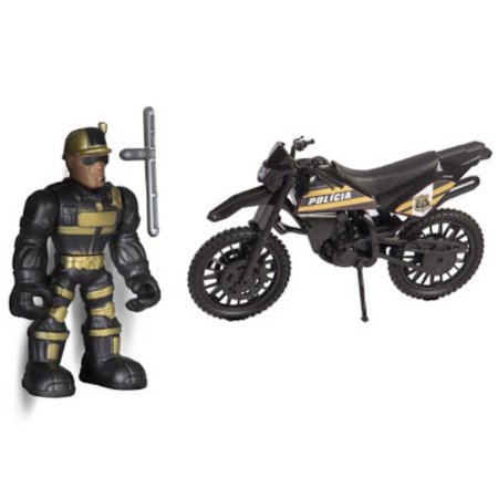 Boneco Com Carrinho Work Force Police - Bs Toys