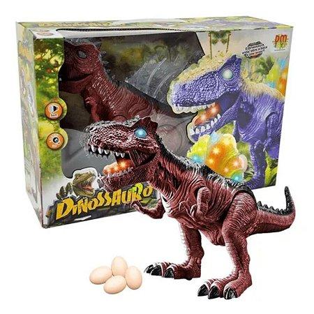 Boneco Dinossauro Marrom Articulado Com Som E Luz -Dm Toys