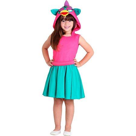 Fantasia Furby Verde- sulamericana tamanho M 6 a 8 anos
