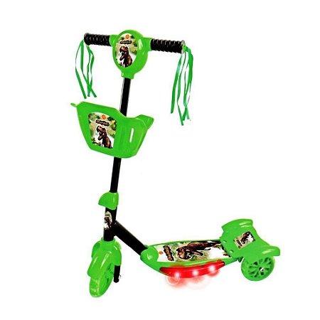 Patinete 3 Rodas Musical e com luzes Dinossauro - Dm Toys