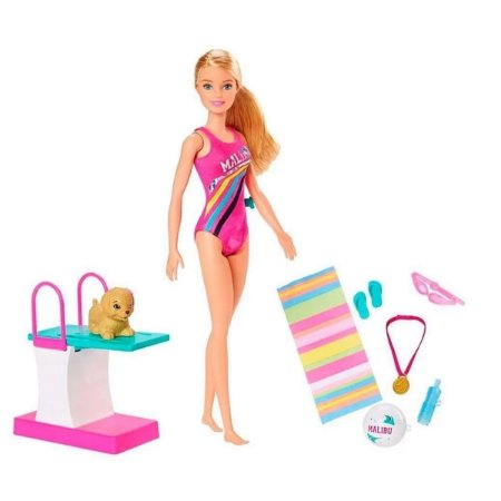 Boneca com Animal E Trampolim Barbie Nadadora
