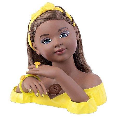 Busto Boneca Charmosa Negra Cabeleireira Para Pentear Com Som