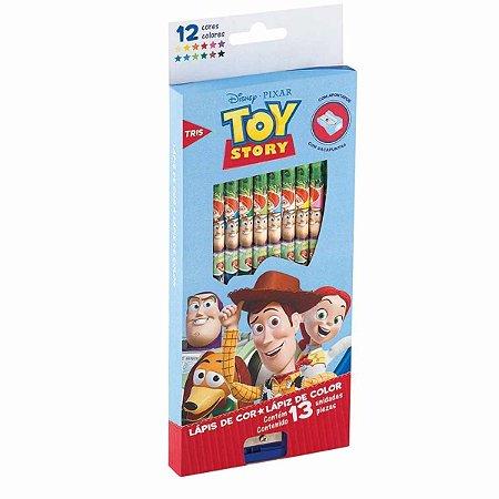 Lápis de Cor Toy Story Disney Tris 12 Cores com Apontador