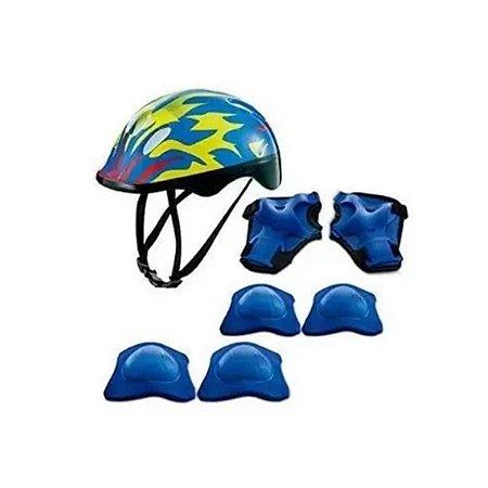 Kit De Proteção com capacete, cotoveleiras e munhequeiras